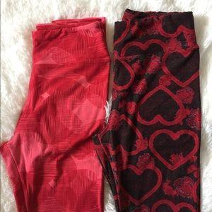 LuLaRoe Hearts Valentines Leggings Vintage OS Lot